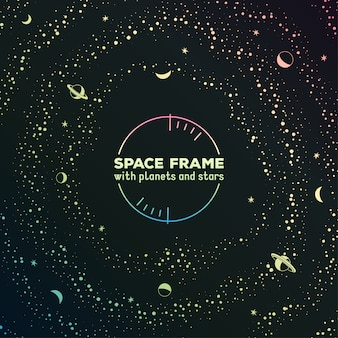 Cornice futuristica retrò con spazio, stelle e pianeti