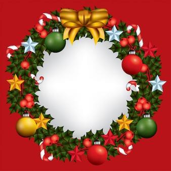 Cornice ghirlanda di natale con decorazioni natalizie