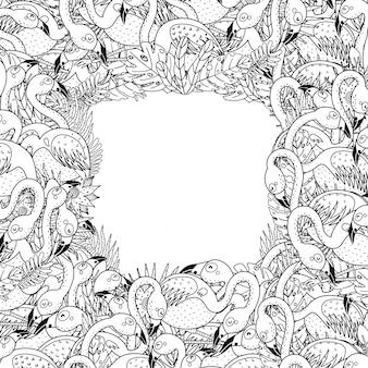 Cornice in bianco e nero con fenicotteri divertenti in stile pagina da colorare