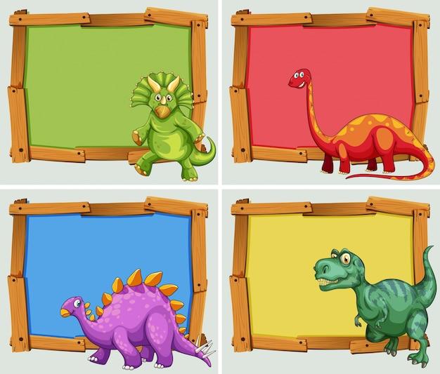 Cornice in legno e illustrazione di molti dinosauri