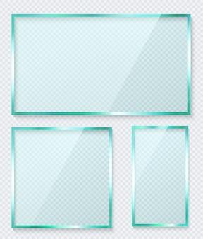 Cornice in vetro trasparente. set di finestre riflettenti in verde.