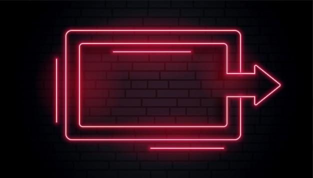 Cornice luminosa a freccia al neon vuota