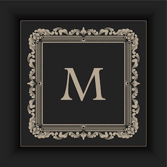 Cornice monogramma floreale e geometrica
