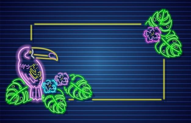 Cornice neon pappagallo tropicale