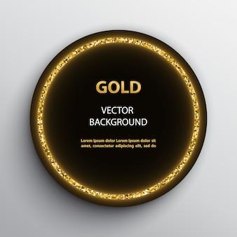 Cornice nera rotonda con effetto scintillante dorato e modello di testo