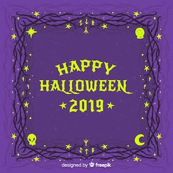 Cornice notte stellata di halloween vintage
