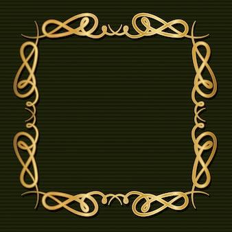 Cornice oro art deco con ornamento su sfondo verde