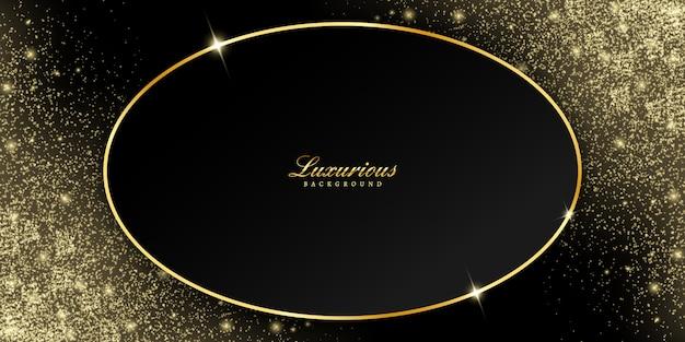 Cornice ovale dorata con glitter coriandoli