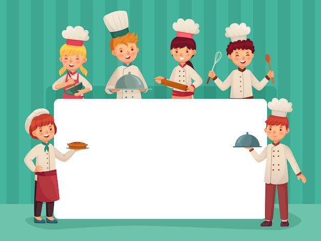 Cornice per bambini chef. i bambini cucinano, piccolo cuoco unico che cucina l'alimento e l'illustrazione di vettore del fumetto degli studenti della cucina del ristorante