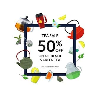 Cornice per bere il tè. bollitori e tazze da tè del fumetto