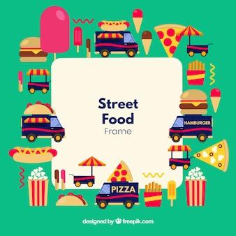 Cornice per cibo di strada con design piatto