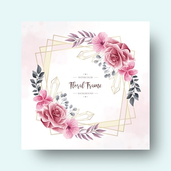 Cornice per decorazione floreale ad acquerello vintage per carta di invito a nozze