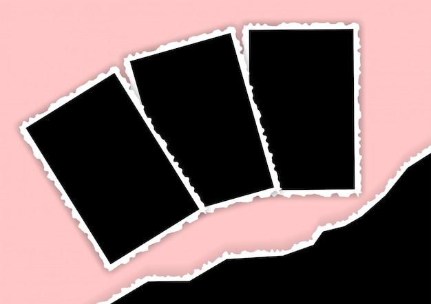 Cornice per foto con bordi strappati e angoli modello di un collage di famiglia