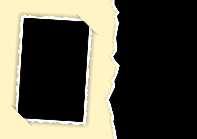 Cornice per foto con bordi strappati e modello di angoli nascosti per un collage
