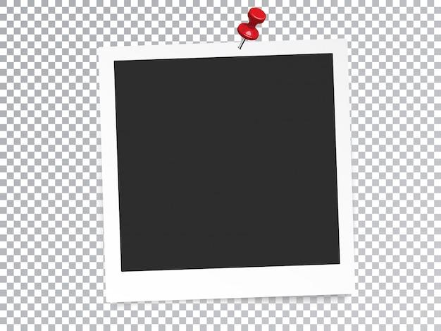 Cornice per foto realistica con effetto speciale trasparente isolato pin