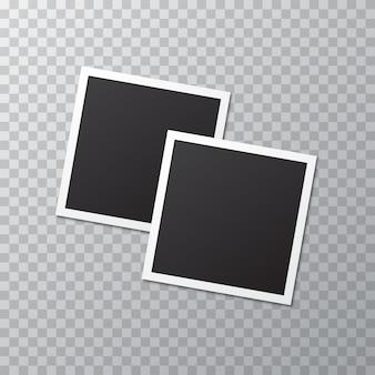 Cornice per foto realistica in bianco due con ombra su un trasparente