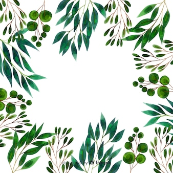Cornice per piante e foglie ad acquerello