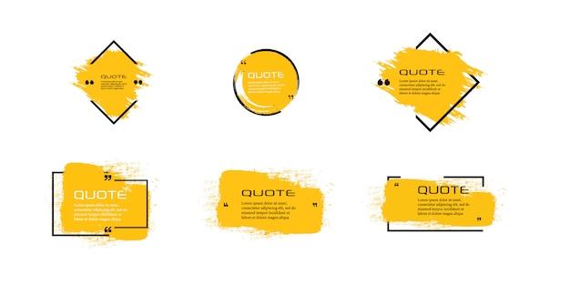 Cornice per scatola con citazione, grande set. icona della casella di citazione. caselle di citazione di testo. priorità bassa vuota della spazzola di grunge.