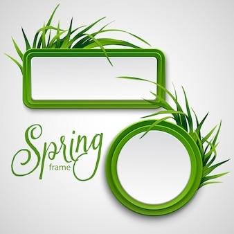 Cornice primavera con erba.