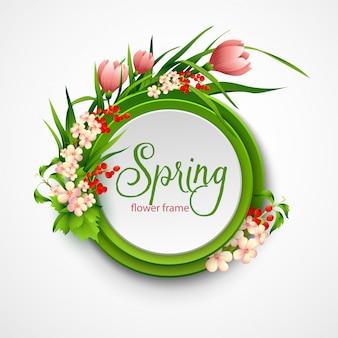 Cornice primavera con fiori.
