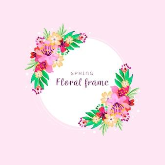 Cornice primavera dell'acquerello con fiori