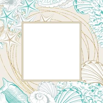 Cornice quadrata con conchiglie. manifesto di vettore isolato con contorno disegno conchiglie di mare per carte di progettazione di nozze