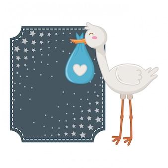 Cornice quadrata con illustrazione di cicogna