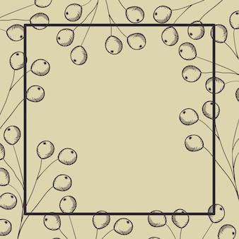 Cornice quadrata con ramo e semi disegnati