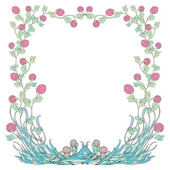 Cornice quadrata decorativa con trifoglio rosa in fiore. design festivo per il giorno di san patrizio.