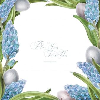 Cornice quadrata dell'acquerello di pasqua con fiori di giacinto
