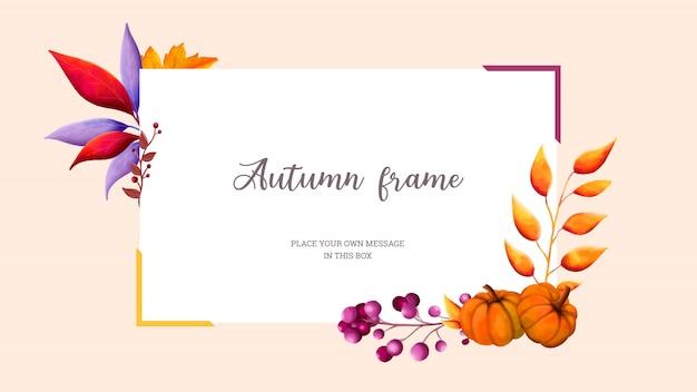 Cornice rettangolare dell'acquerello di autunno con foglie colorate