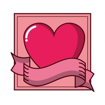 Cornice romantica con bandiera cuore e nastro