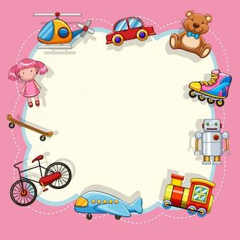 Cornice rosa con giocattoli per bambini
