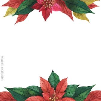 Cornice rossa verde stella di natale