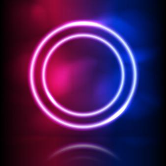 Cornice rotonda al neon incandescente. illuminazione incandescente e anelli di fumo. spettro di colori vibranti rosa blu, laser show