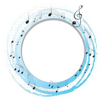 Cornice rotonda con note musicali su scale
