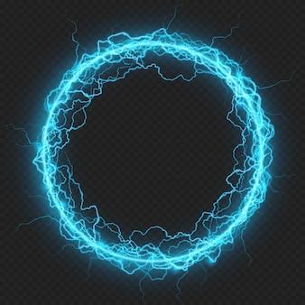 Cornice rotonda con particelle elementari di energia carica, fulmini luminosi, elemento elettrico. su sfondo trasparente.