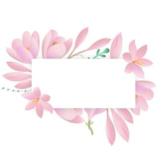 Cornice rotonda decorativa con croco viola. carta floreale, cornice quadrata.