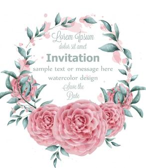 Cornice rotonda dell'acquerello di fiori di rosa con rami verdi