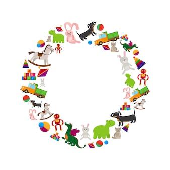 Cornice rotonda di giocattoli per bambini