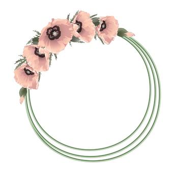 Cornice rotonda floreale con papaveri rosa,
