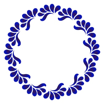 Cornice rotonda ornamentale blu