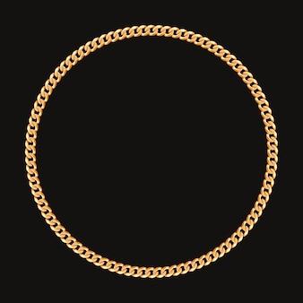 Cornice rotonda realizzata con catena dorata.