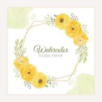 Cornice rustica floreale con bouquet di rose gialle dell'acquerello