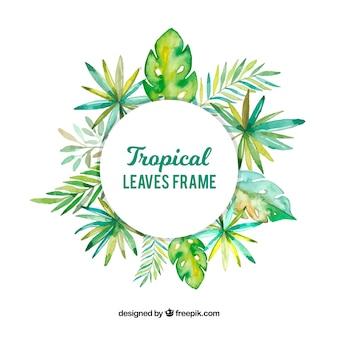 Cornice tropicale con foglie di acquerello