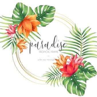 Cornice tropicale con natura esotica