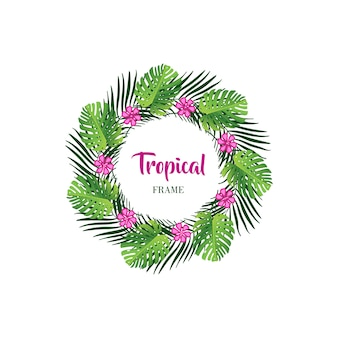 Cornice tropicale foglia tropicale con foglie di palma esotiche