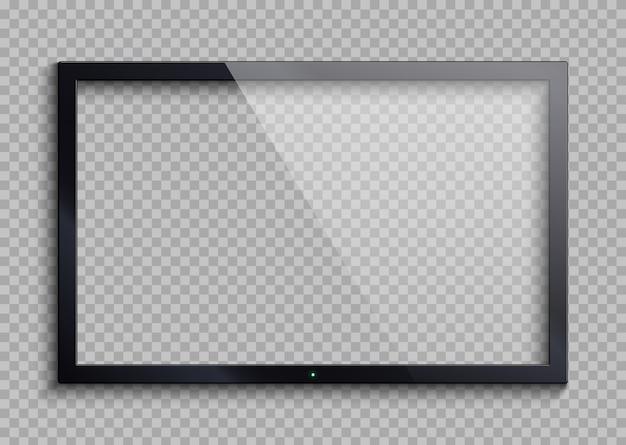 Cornice tv vuota con schermo riflesso e trasparenza isolato. illustrazione vettoriale di monitor lcd