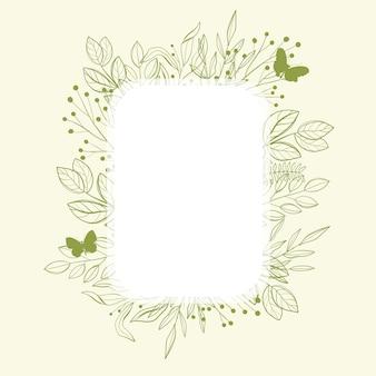 Cornice verde con foglie verdi e farfalla.