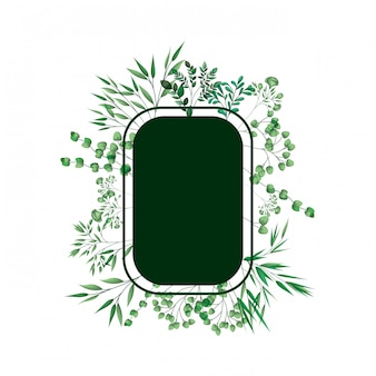 Cornice verde con rami e foglie